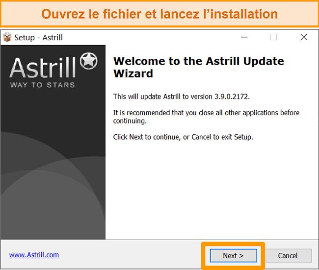 Capture d'écran de l'écran d'installation d'Astrill sous Windows.