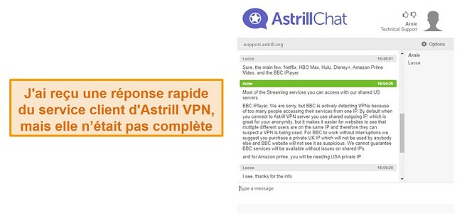 Screenshot of Astrill's live chat support.