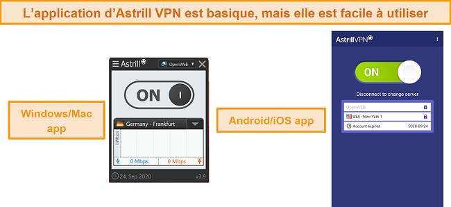 Capture d'écran des applications d'Astrill VPN sur ordinateur de bureau et mobile.