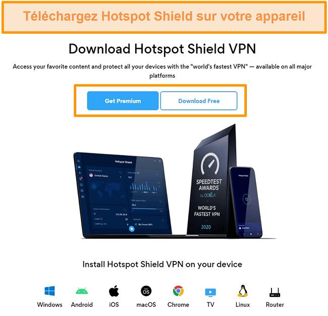 Capture d'écran de la page de téléchargement de Hotspot Shield.