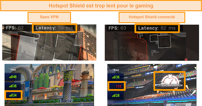 Capture d'écran de Call of Duty: Modern Warfare et Rocket League testés pour l'augmentation de la latence lorsqu'ils sont connectés à Hotspot Shield VPN sur PC.