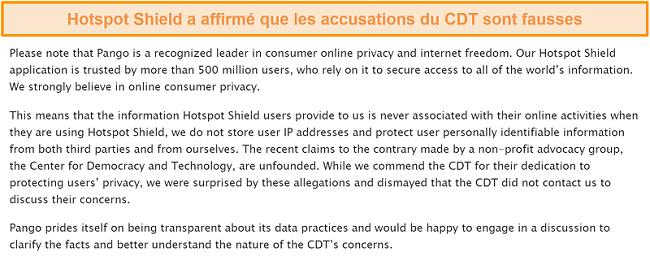 Capture d'écran de la réponse par courrier électronique de Hotspot Shield interrogée sur l'incident de 2017 impliquant le dépôt d'une plainte par le CDT auprès de la FTC au sujet des pratiques de collecte de données de Hotspot Shield