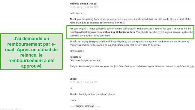 Capture d'écran d'une conversation par e-mail avec l'assistance Hotspot Shield, entraînant l'approbation d'un remboursement.