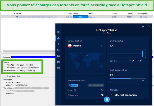 Capture d'écran de la connexion à Hotspot Shield lors du torrent d'un fichier de 4 Go en moins de 4 minutes.
