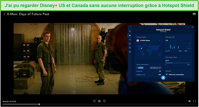 Capture d'écran de Hotspot Shield débloquant Disney + et diffusant X-Men: Days of Future Past.
