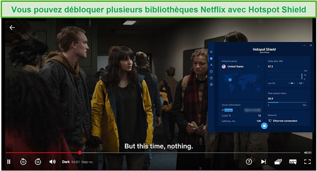 Capture d'écran de Hotspot Shield débloquant Netflix et diffusant Dark.