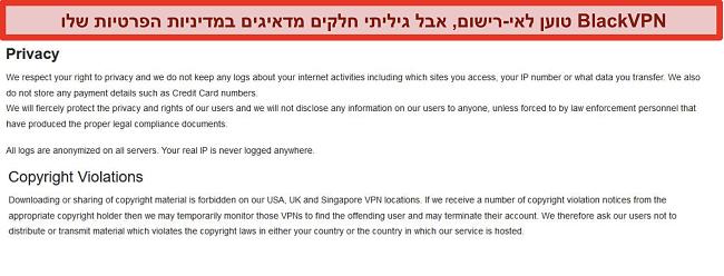 תמונת מסך של החלקים בנושא הפרות וזכויות יוצרים בתנאי השירות של BlackVPN