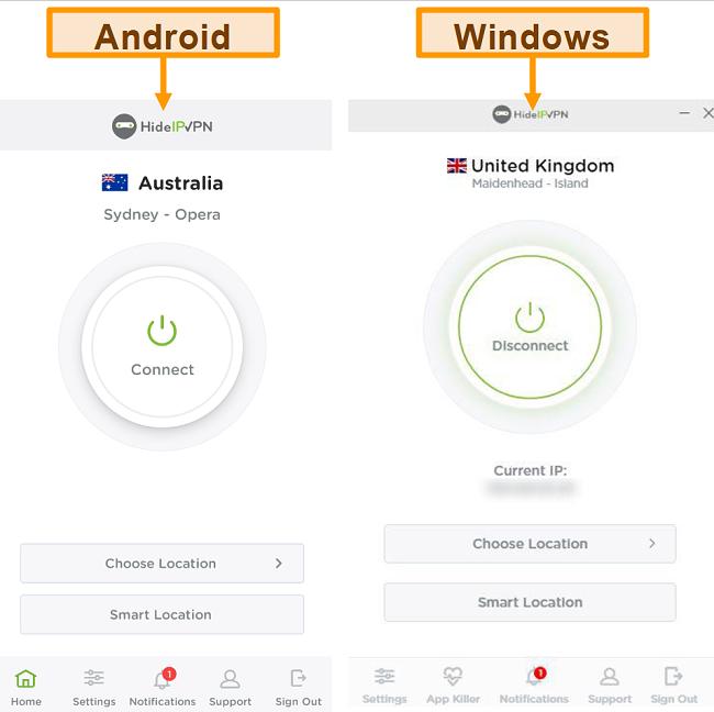 צילום מסך של היישומים השולחניים והניידים של HideIPVPN.