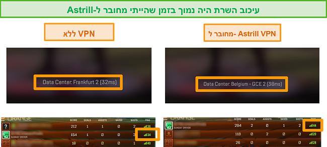 צילום מסך של Apex Legends ו- Rocket League עובר כאשר מנותק ומחובר לשרת VPN מקומי של Astrill.