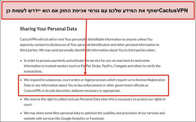 צילום מסך של מדיניות הפרטיות של CactusVPN שמראה שהם יעבירו את הנתונים שלכם