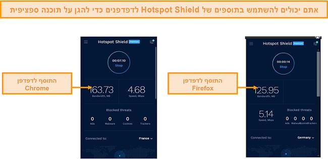 צילום מסך של הרחבות הדפדפן של Hotspot Shield עבור Chrome ו- Firefox.