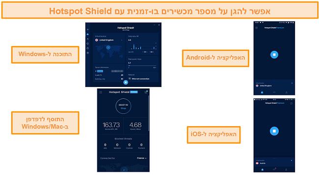 תמונת מסך של אפליקציית Hotspot Shield ב- Windows, Android, Mac ו- iOS.