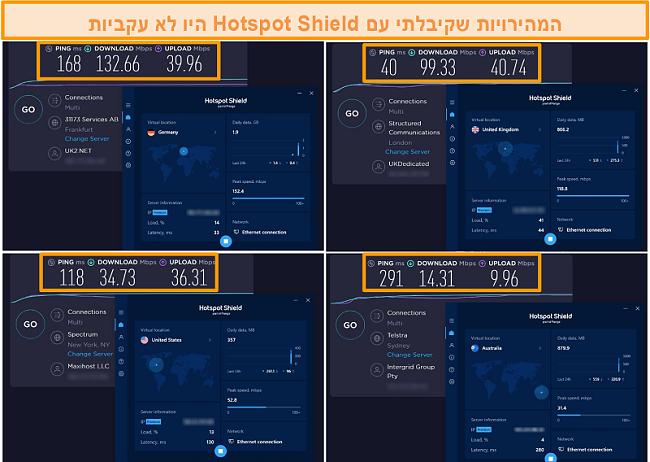 תמונת מסך של מבחני מהירות מגן חמה מגרמניה, בריטניה, ארה