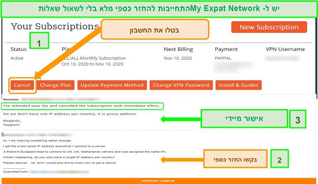 צילום מסך של תהליך ההחזר של רשת אקספייט שלי