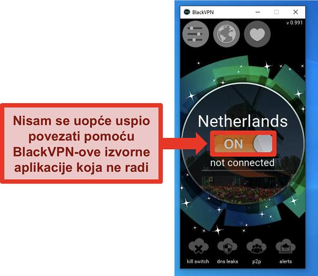 Snimka zaslona BlackVPN-ovog klijenta za Windows koji se nije povezao iako je uključen