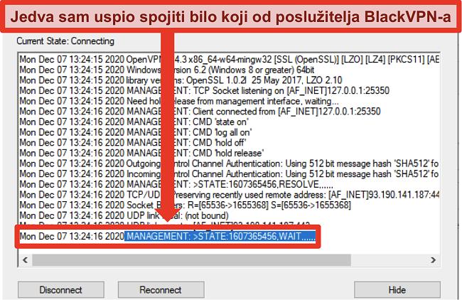 Snimka zaslona BlackVPN-a koji se pokušava povezati s poslužiteljem putem OpenVPN klijenta