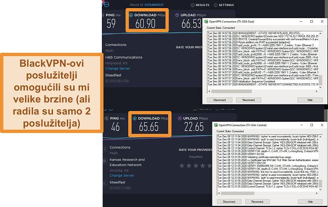 Snimak zaslona 2 testa brzine dok ste povezani s BlackVPN poslužiteljima u SAD-u