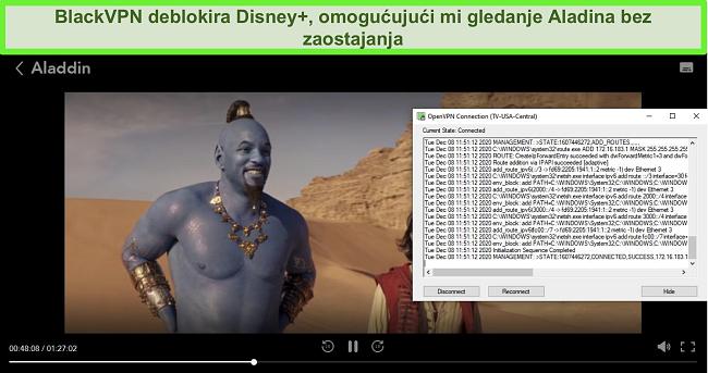 Snimka zaslona Aladdina na Disneyu + dok je BlackVPN povezan sa središnjim poslužiteljem SAD-a za streaming putem OpenVPN klijenta