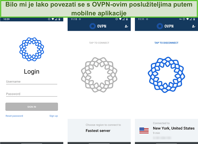Snimka zaslona postupka prijave OVPN-a na mobilnom uređaju