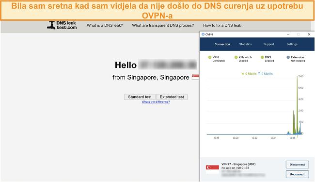 Snimka zaslona OVPN-a koji prolazi DNS test curenja