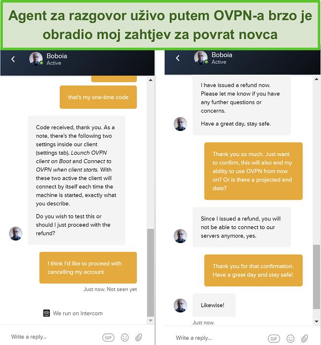 Snimak zaslona uspješnog zahtjeva za povrat putem OVPN-ovog chata uživo