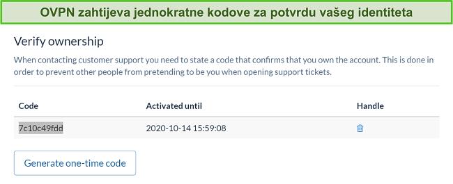 Snimka zaslona jednokratnog koda OVPN-a za provjeru identiteta tijekom postupka otkazivanja pretplate