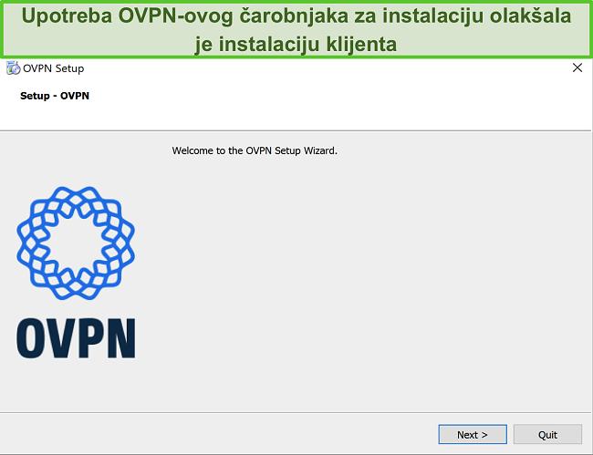 Snimka zaslona čarobnjaka za postavljanje OVPN-a