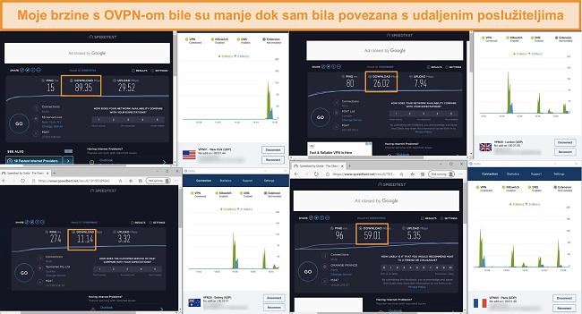 Snimka zaslona 4 testa brzine dok ste povezani na OVPN