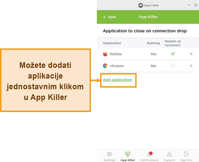Snimka zaslona HideIPVPN Application Killer-a.