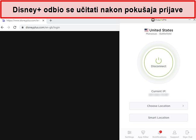 Snimka zaslona HideIPVPN-a koji nije uspio pristupiti Disneyu +.