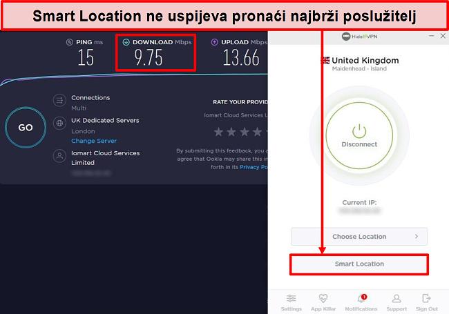 Snimak zaslona testa brzine pomoću pametne lokacije.