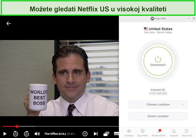 Snimka zaslona HideIPVPN-a deblokirajući američki Netflix, strujeći The Office (SAD).