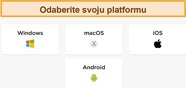 Snimka zaslona postupka stvaranja računa HideIPVPN-a, na kojem morate odabrati željenu platformu.