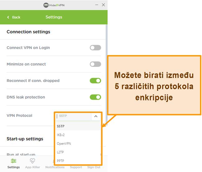 Snimka zaslona protokola šifriranja HideIPVPN.