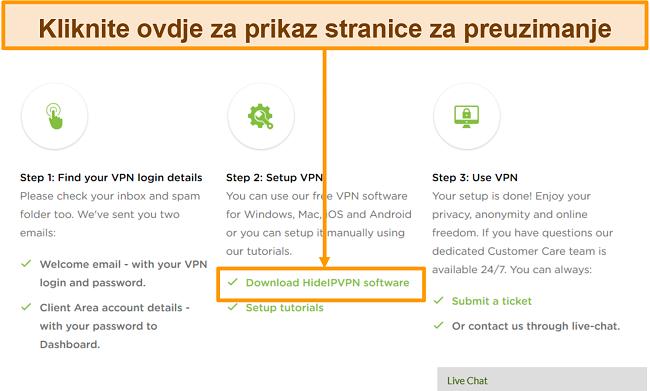 Snimka zaslona postupka stvaranja računa HideIPVPN-a, gdje za nastavak morate kliknuti na