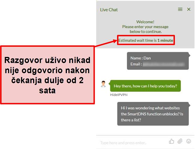 Snimka zaslona HideIPVPN chata uživo nije uspio odgovoriti.
