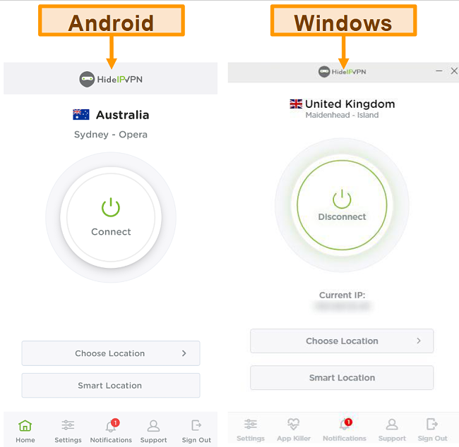 Screenshot of HideIPVPN's desktop and mobile applications.