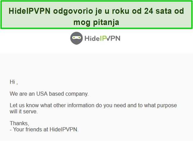 Snimka zaslona podrške e-pošte HideIPVPN-a.