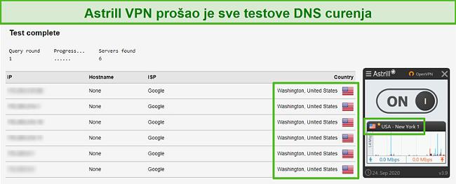 Snimak zaslona Astrill VPN-a koji uspješno prolazi testove curenja DNS-a.