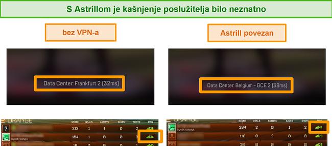 Snimka zaslona pingova Apex Legends i Rocket League kada su odspojeni i povezani s lokalnim Astrill VPN poslužiteljem.