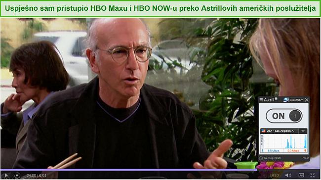 Snimka zaslona Astrill VPN-a koji deblokira Obuzdajte svoje oduševljenje na HBO Max.