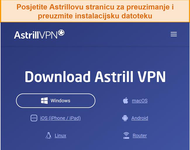 Snimka zaslona stranice za preuzimanje Astrill VPN-a.