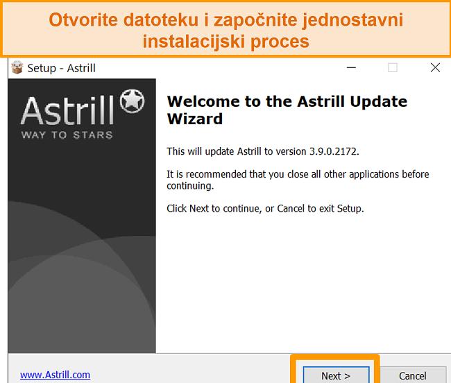 Snimka zaslona Astrill instalacijskog zaslona na sustavu Windows.