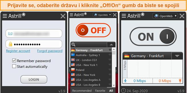 Snimka zaslona aplikacije Windows za Astrill VPN.