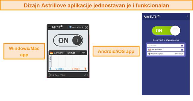 Snimka zaslona aplikacija Astrill VPN na radnoj površini i mobitelu.
