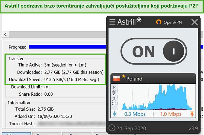 Snimka zaslona Astrill-a koji je preusmjerio datoteku preko svog poljskog poslužitelja koji podržava P2P.