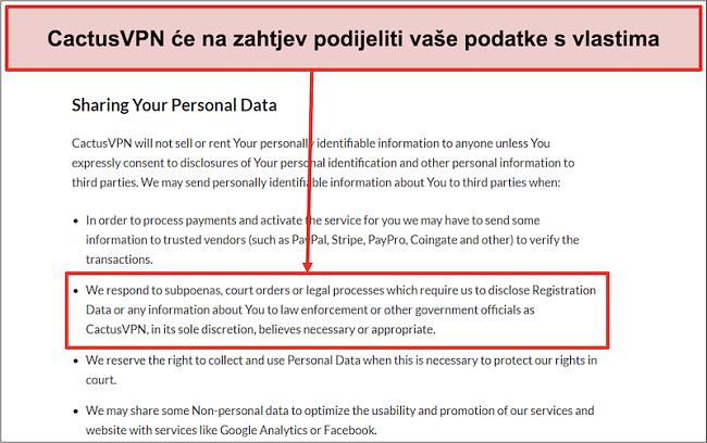 Snimka zaslona politike privatnosti tvrtke CactusVPN koja pokazuje da će predati vaše podatke