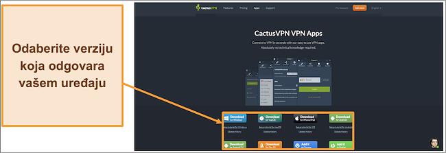 Snimka zaslona koja pokazuje gdje sa svoje web stranice možete preuzeti verziju CactusVPN-a koju želite