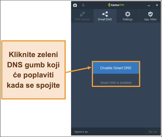 Snimka zaslona sučelja CactusVPN koja pokazuje kako omogućiti pametni DNS
