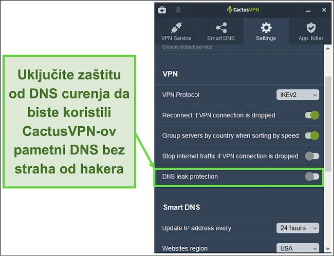 Snimka zaslona koja pokazuje kako omogućiti zaštitu od propuštanja DNS-a